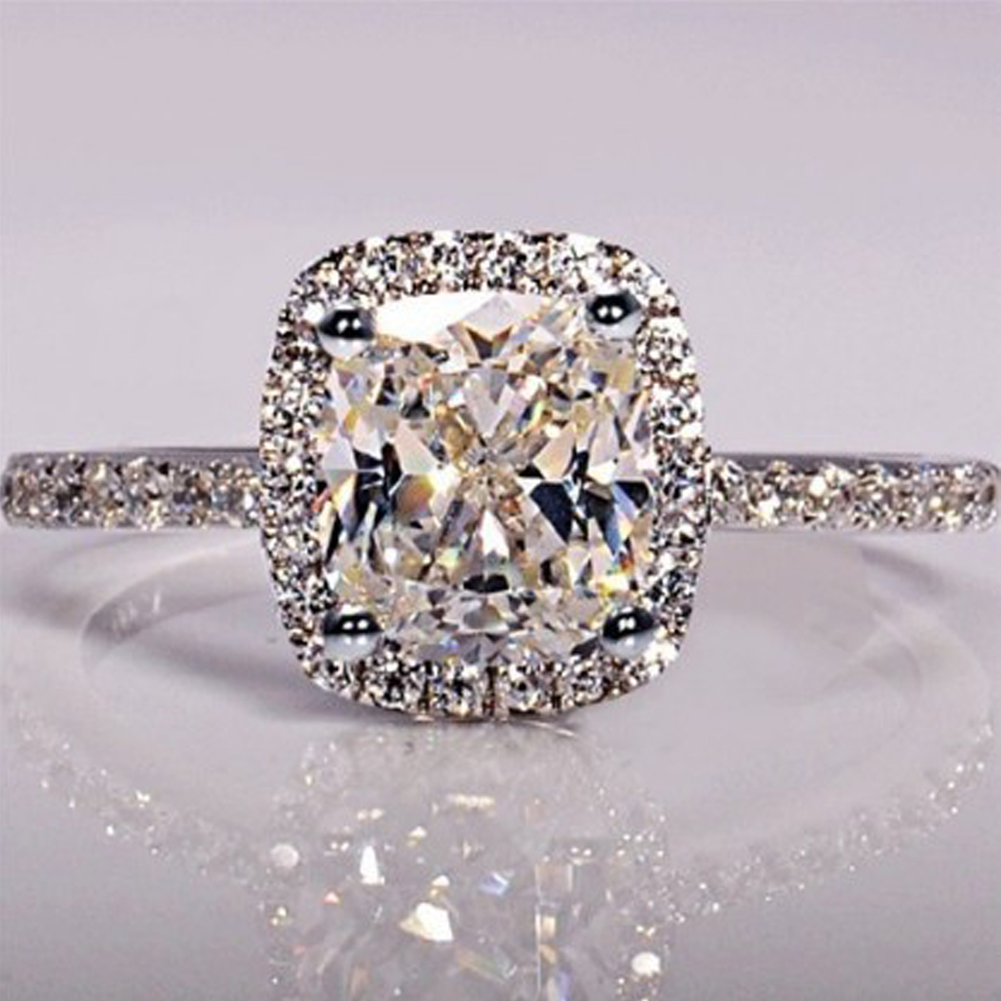 New Trendy Crystal Engagement Design Hot Sale Rings For Women Sweet White Zircon Cubic elegant rings Female Wedding jewerly