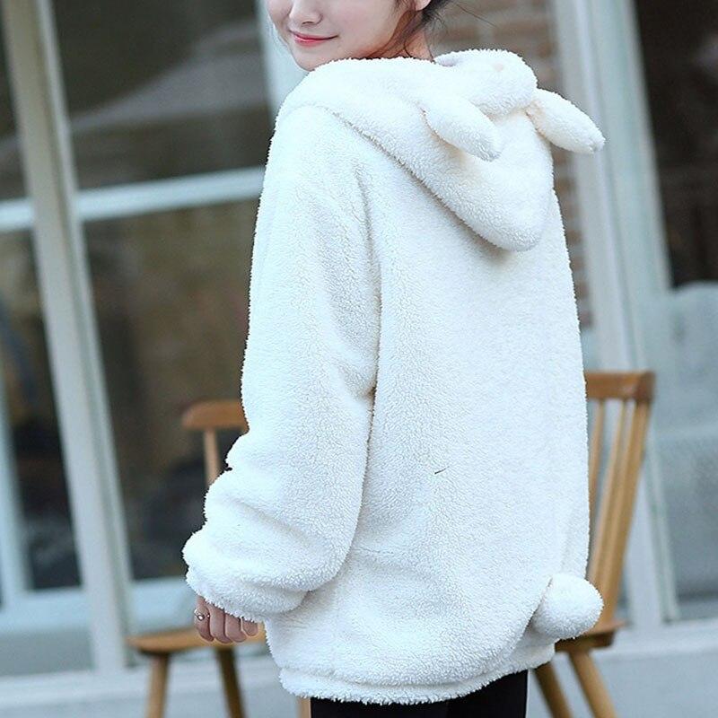 Inverno oversize mulheres hoodies com zíper menina queda solta urso fofo orelha kawaii hoodie com capuz jaqueta quente outerwear casaco camisolas