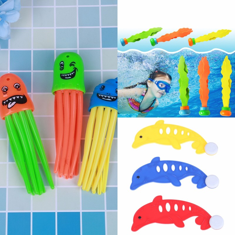 3Pcs/Set Underwater Swim Pool Diving Toys Summer Swimming Dive Toy Sets Water Rings,Diving Dolphins Fish & Balls