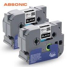 Absonic 2 шт. TZe-355 TZ-355 белый на черном кассете лента для Brother TZe стандартные клейкие ленты этикетки P-touch PT-D600 PT-P700