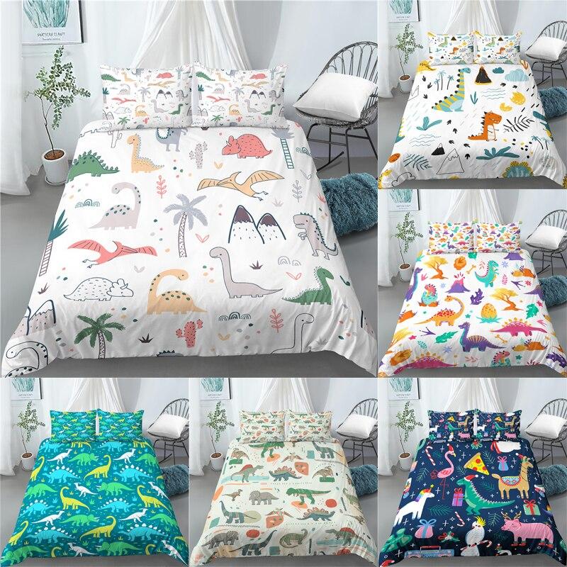 Parure de lit imprimée dinosaure, ensemble de literie, housse de couette confortable, taie d'oreiller, taille Queen et King ue/US/AU, luxe 3D, 2/3 pièces
