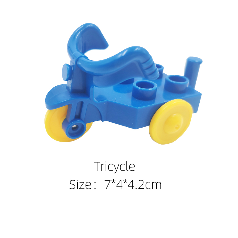 Classic Big Grain Brick Furniture Tricycle Motorcycle Building Block Set Boy Girl Kids Toys Compatible with Big Size Block | Happy Baby Mama