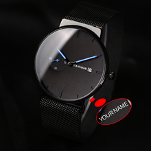 BOBO BIRD relogio masculino Ultra thin Customize Name Men Watch Stainless Steel Date Display Engrave Text Wristwatch For Him