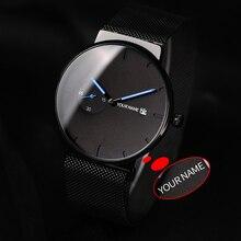 ボボ鳥レロジオ masculino 超薄型カスタマイズ名メンズ腕時計ステンレススチール日付表示彫刻テキスト腕時計彼のために