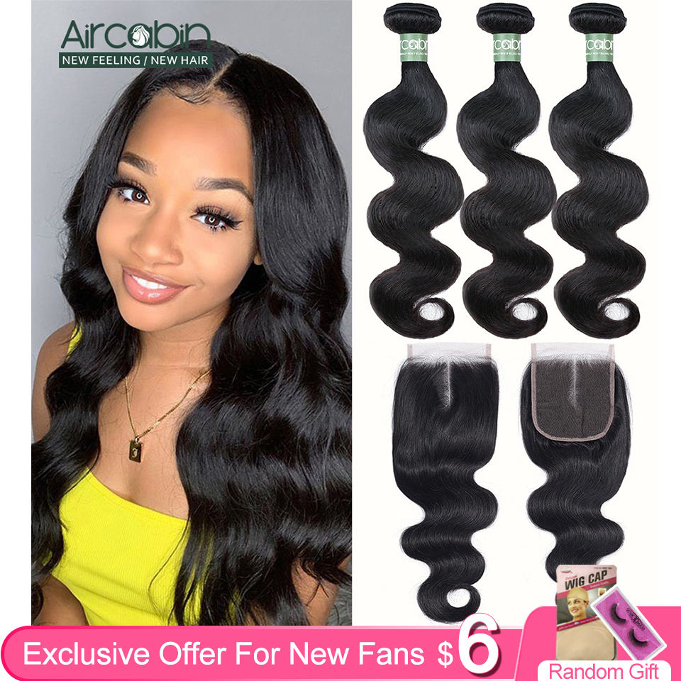 Aircabin Body Wave Bundles With Closure Brazilian Remy Human Hair Double Weft Bundles Extensions Medium Brown Swiss Lace Closure
