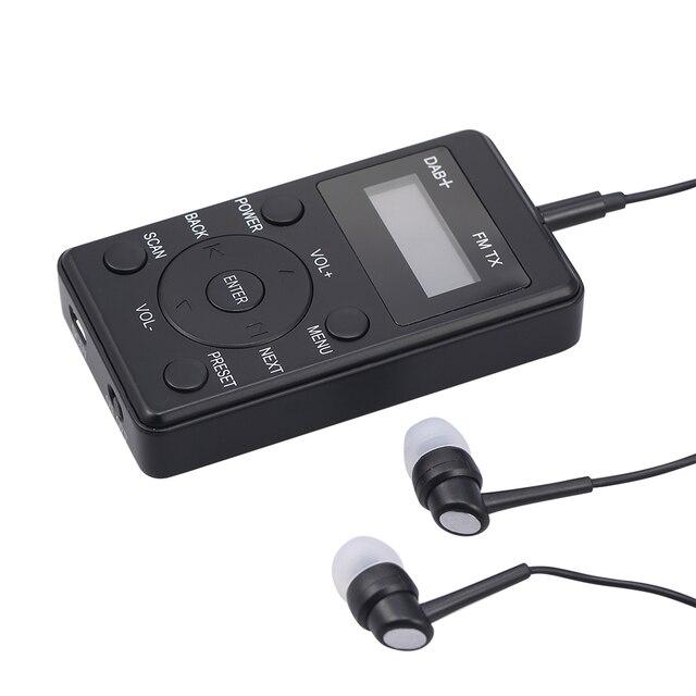 HRD راديو FM محمول 100 DAB ، مستقبل FM مع سماعات أذن ، جهاز إرسال رقمي صغير قابل لإعادة الشحن ، للاستخدام اليومي والسفر