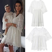 Fashion Mother and Daughter White Lace Dress Family Matching Clothes Women Kids Girls Floral Wedding Party Prom Dress(China)