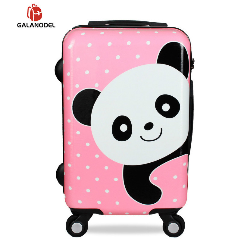 Cute Cartoon Children Rolling Luggage Spinner Suitcase Wheels Students Cabin Trolley 20/24 Inch Bear Pattern Travel Bag