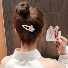 Stylish Pearl Hairpin Female Bow Rhinestone Retro Hair Clips Glitter Sparkly Accessories For Lovely Girls