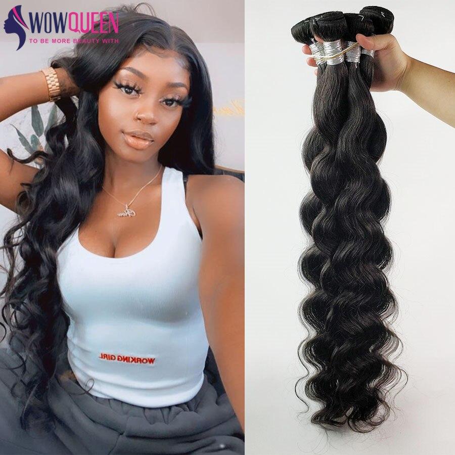 32 34 36 40 Polegada s onda do corpo pacotes wowqueen 30 Polegada pacotes de cabelo humano remy feixes cabelo braizlian tecer feixes de qualidade superior
