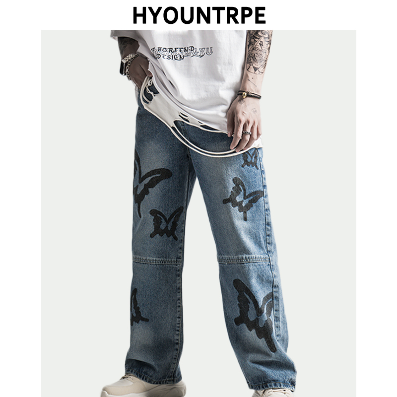 Mens Hip Hop Butterfly Printed Denim Pants Casual Straight Zipper Jean Trousers Unisex New Spring Summer Streetwear Jogger Jeans