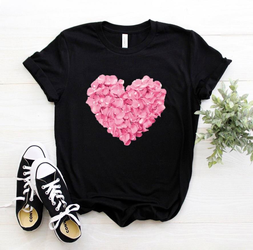 Camiseta con estampado de flores y corazón rosa para mujer, camiseta divertida informal de algodón, regalo para chica de los 90, PKT 894 Camisetas  - AliExpress
