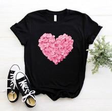 pink heart flower Print Women tshirt Cotton Casual Funny t shirt Gift 90s Lady Yong Girl Drop Ship PKT-894