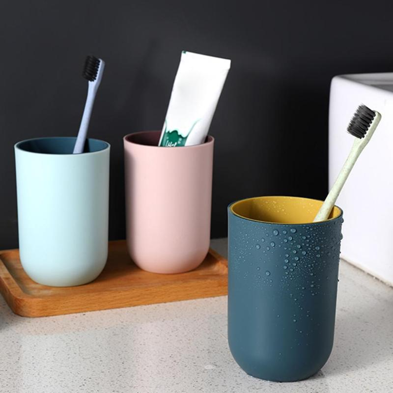 Circular Toothbrush Tumbler Large-capacity Drinking Cup PP TPR Simple Small Potted Plant Cup Plain Style Bathroom Accessories image