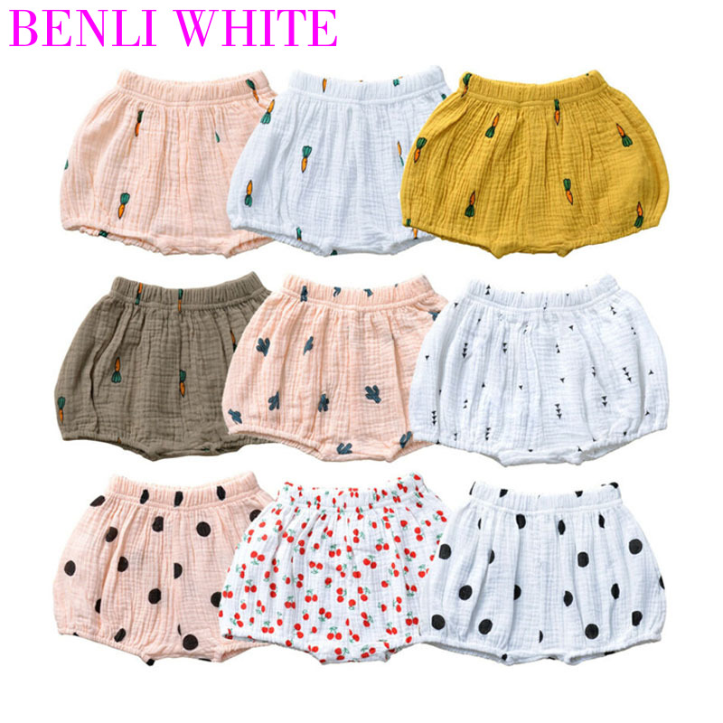 2020 Summer Baby Girls Thin Style Soft Large PP Shorts Cartoon Print Infant Cotton Linen Bloomers Toddler Boys Bread Pants 0-4T