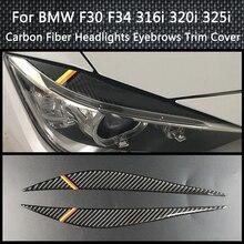 3 series carbon fiber front bumper diffuser spoiler lip for bmw f30 standard only 2012 2013 2014 2015 316i 320i 328i 335i 318d Carbon Fiber Decoration Headlight Eyebrows Eyelids Trim Cover For BMW F30 F34 316i 320i 325i 2013-2015 Car light Styling Stickes