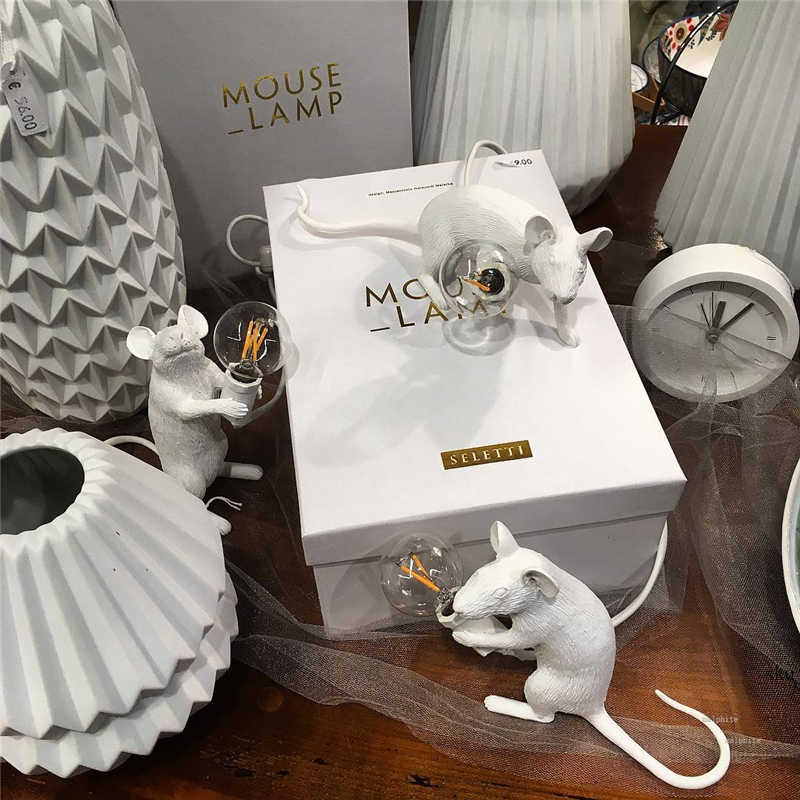 Lámpara de mesa de resina italiana para ratas, accesorios de mesilla de noche para dormitorio nórdico, lámpara para ratón, decoración de boda, luz de mesa, regalos para niños, lámparas de animales, Mesa