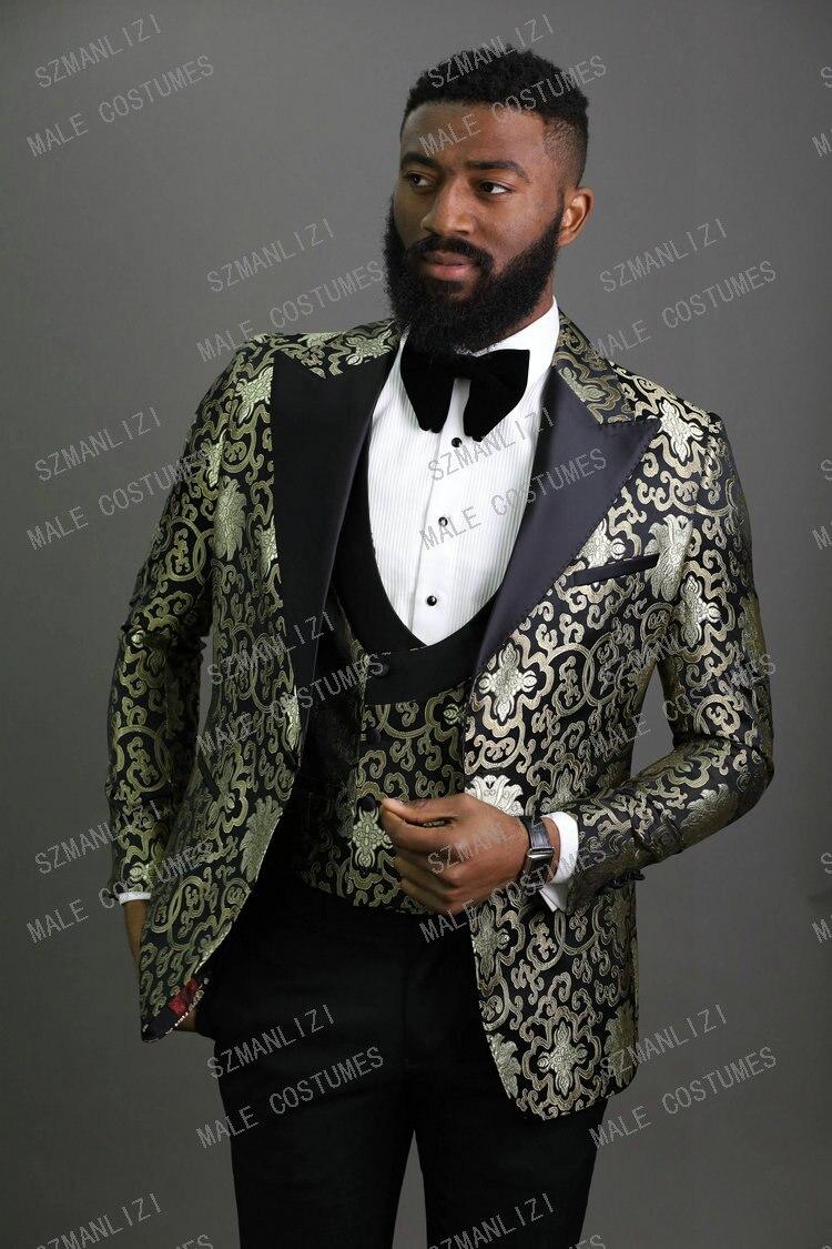 2020 Peaked Lapel Slim Fit Black Gold Jacquard Smoking Tuxedo Groom Dinner Party Suit Men 3 Piece Wedding Dress Best Man Suit