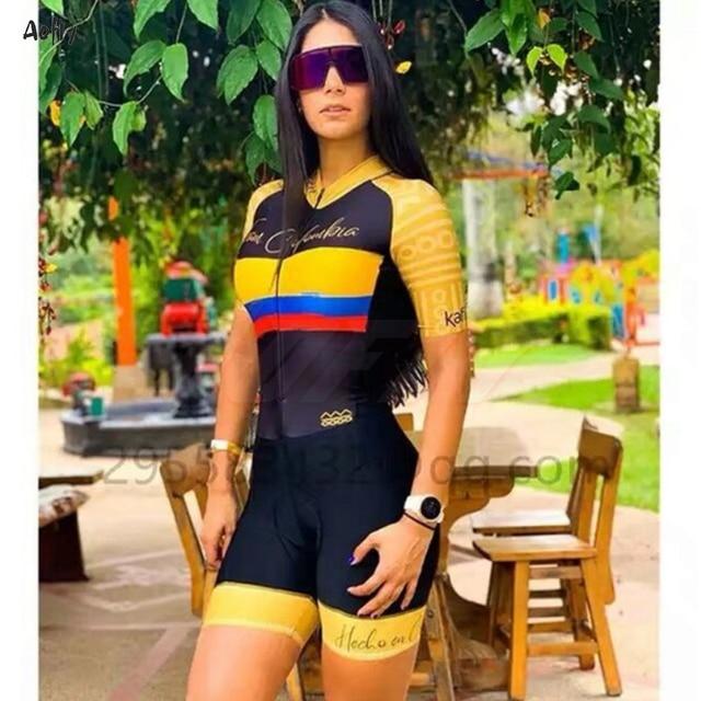 Frete grátis brasil colômbia variedade feminino camisa de ciclismo rosa manga curta ciclismo roupas femininas macacão triathlon collant 1