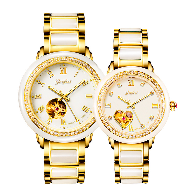 2019 Top Fashion Time-limited Wholesale Set Auger Couple Watches Hotan White Jade Mechanical Automatic Hollow Out Fashion