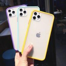 Darbeye şeffaf hibrid silikon telefon kılıfı iPhone 11 Pro max X XS XR 12 Mini 7 8 artı 6S mat şeffaf çerçeve yumuşak kapak