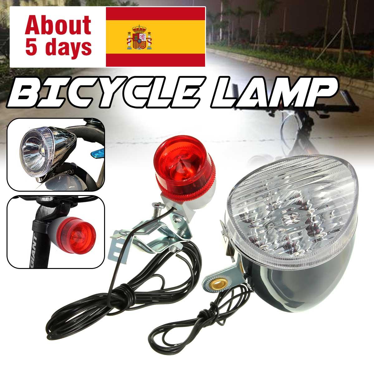 Bicicleta LED faro trasero catadióptricos reflector con borne de goma