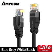 AMPCOM Cable Ethernet Cat 6, cables de conexión LAN de red de Internet, Cable de computadora Cat6 de alta velocidad y conectores Rj45 para Router, módem