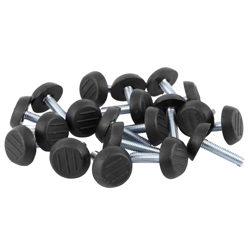 20x M6 Adjustable Screw Threaded Glide Feet Leveling Foot Home Chair Table 25mm Colour:Black