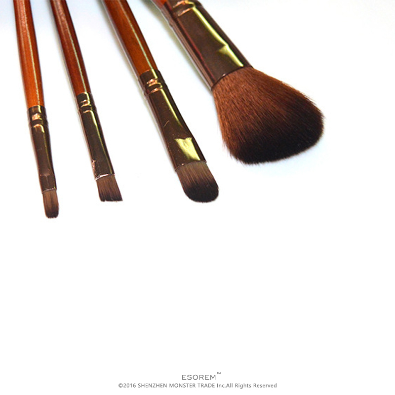 ESOREM 4pcs Wood Handle Cosmetic Brushes Set Foundation Brush Flat Contour Pencil Shader Eyeshadow Lip Brush Pinceaux Maquillage in Eye Shadow Applicator from Beauty Health