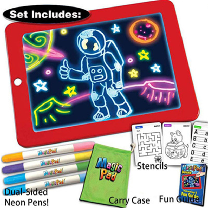 3D Magic Drawing Pad Children Clipboard Set LED Writing Board Creative Art Magic Board Pad With Pen Kids Gift