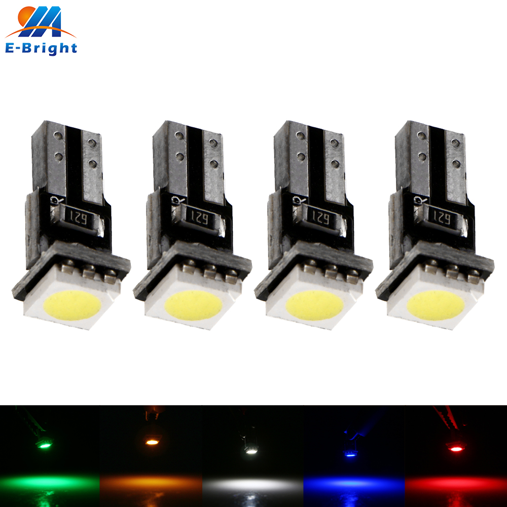 4X <font><b>T5</b></font> t4w 12V <font><b>LED</b></font> <font><b>5050</b></font> 1 <font><b>SMD</b></font> PCB Auto Car Wedge Instrument Dashboard DASH Light Interior Lamp Bulb White Blue Red Amber Green image