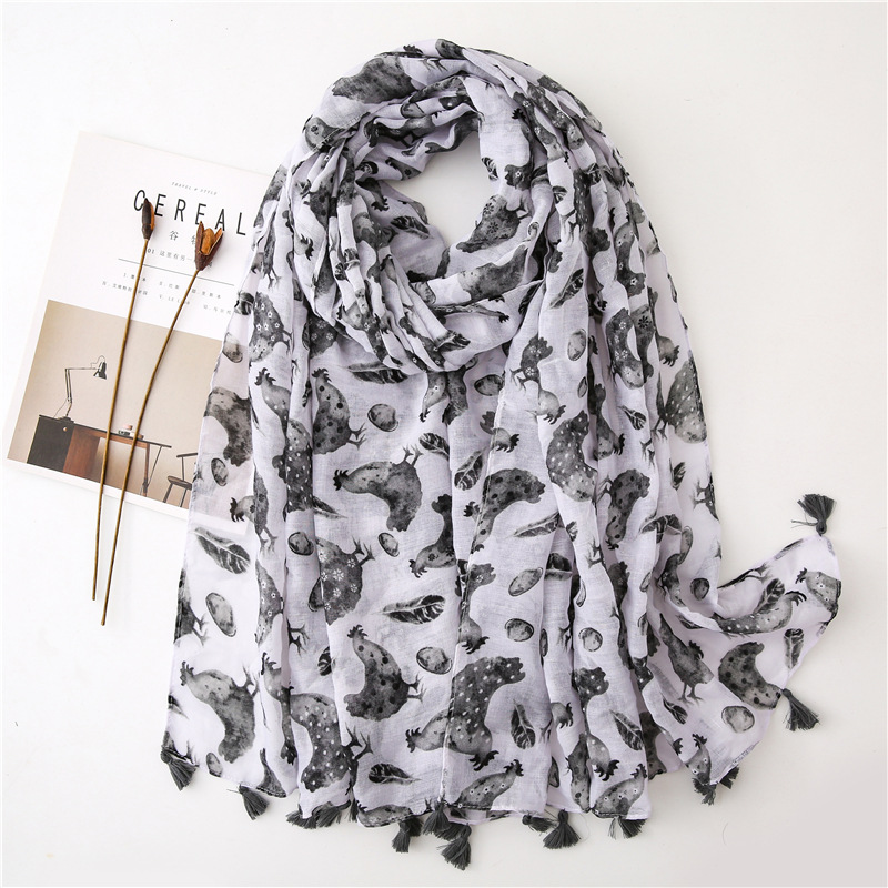 Ladies Fashion Black White Cock Tassel Viscose Shawl Scarf Autumn Winter Print Warm Pashminas Stole Muslim Hijabs Sjaal 180*90Cm
