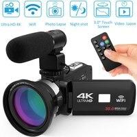 30MP HDV4K HD digital camera night vision Filmadora Gravador de DV WIFI tela sensível ao toque de luz de preenchimento infravermelho