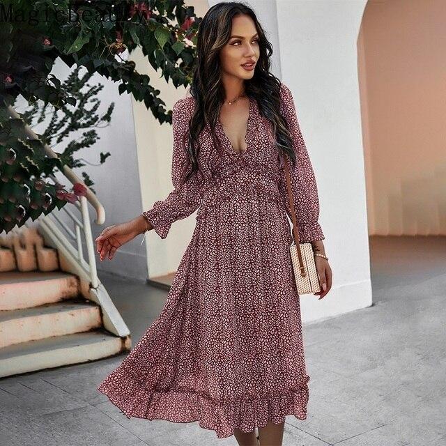Women V Neck Print Dress Casual Butterfly Sleeve High Waist Dress Ladies Summer Chiffon Dress 4