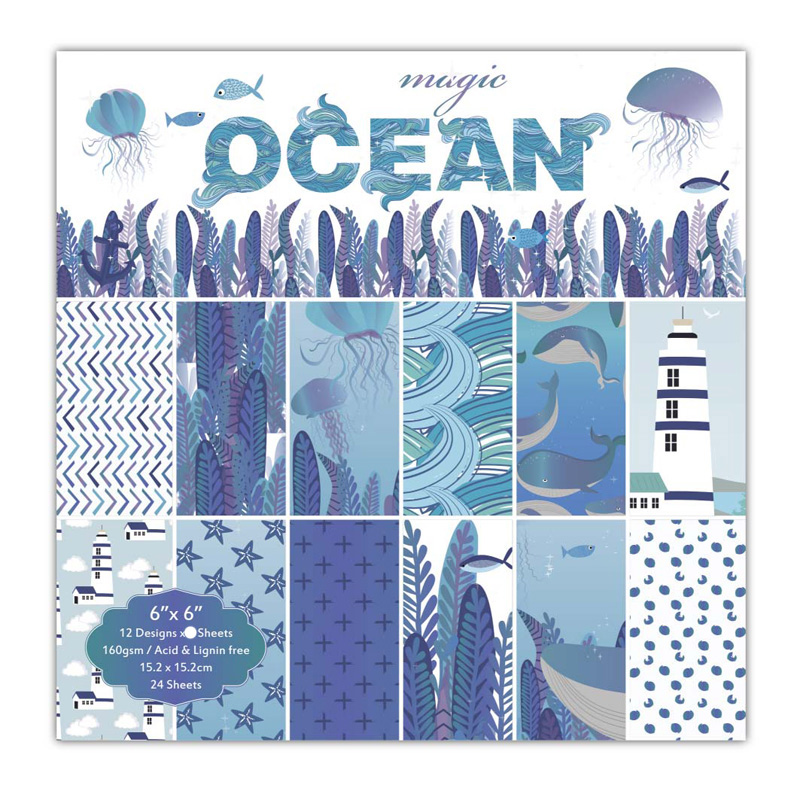 KLJUYP 12 Sheets Ocean Scrapbooking Pads Paper Origami Art Background Paper Card Making DIY Scrapbook Paper Craft
