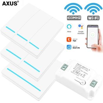 AXUS Tuya Wall Smart APP WiFi Switch Light 1/2/3 Gang Wireless RF 433Mhz Push Button DIY Relay Timer Module Google Home Alexa недорого