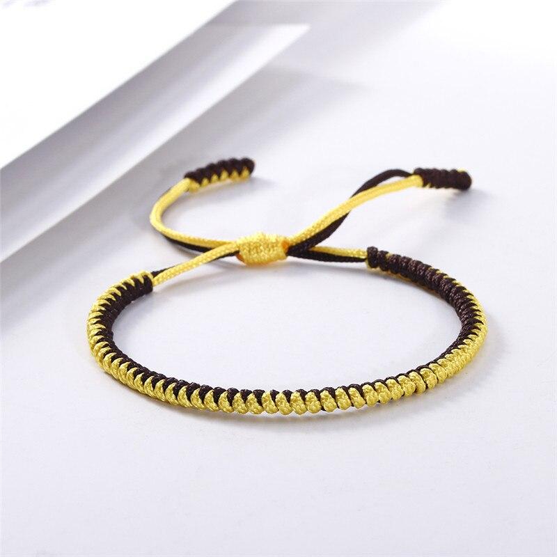 Original multicolor tibetano budista de la suerte hecho a mano nudos cuerda pulsera ajustable encanto pulseras y brazalete para Mujeres Hombres joyería