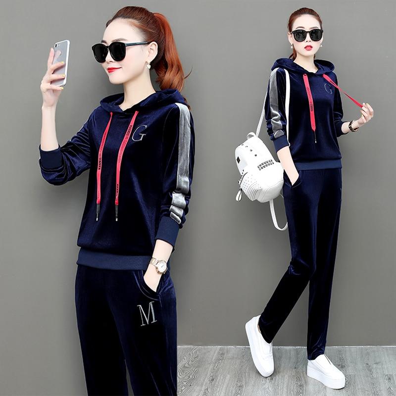Velvet Suit 2 Two Piece Set Tracksuit For Women Outfits Winter Autumn Plus Size Sportsuit Matching Hoodies Pant Suits Clothing