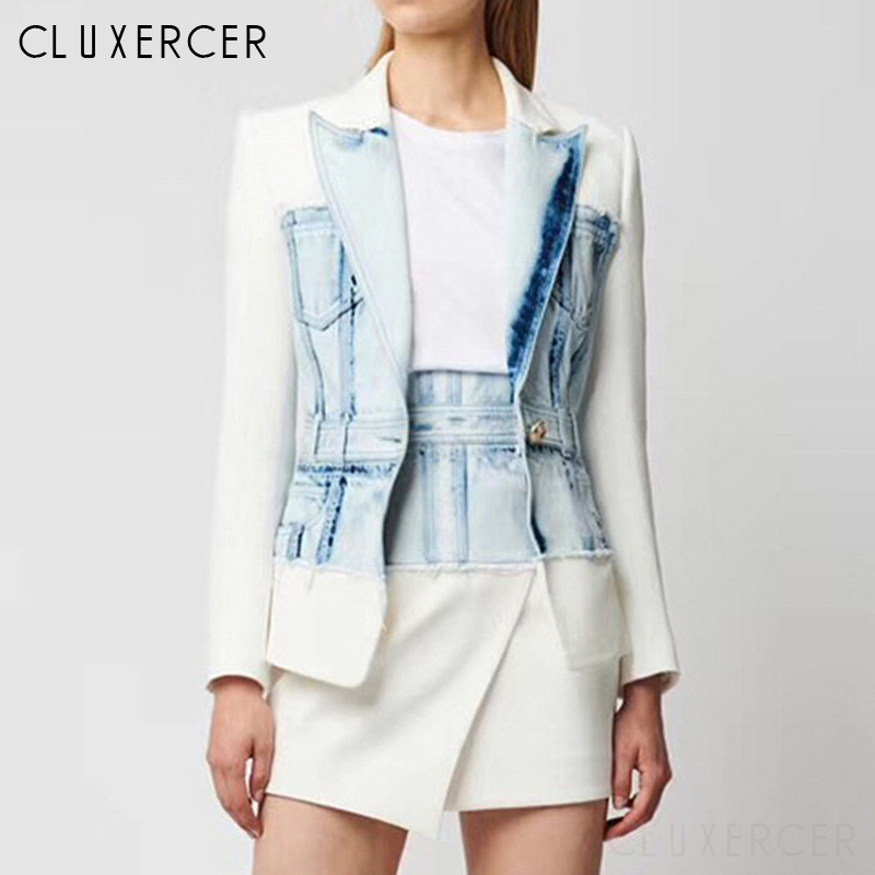 2020 New Fashion Spring Autumn Denim Patchwork Blazer Jacket Female Casual Notched Collar Long Sleeve One Button Suit Women