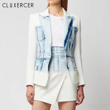 2020 New Fashion Spring Autumn Denim Patchwork Blazer Jacket Female Casual Notch