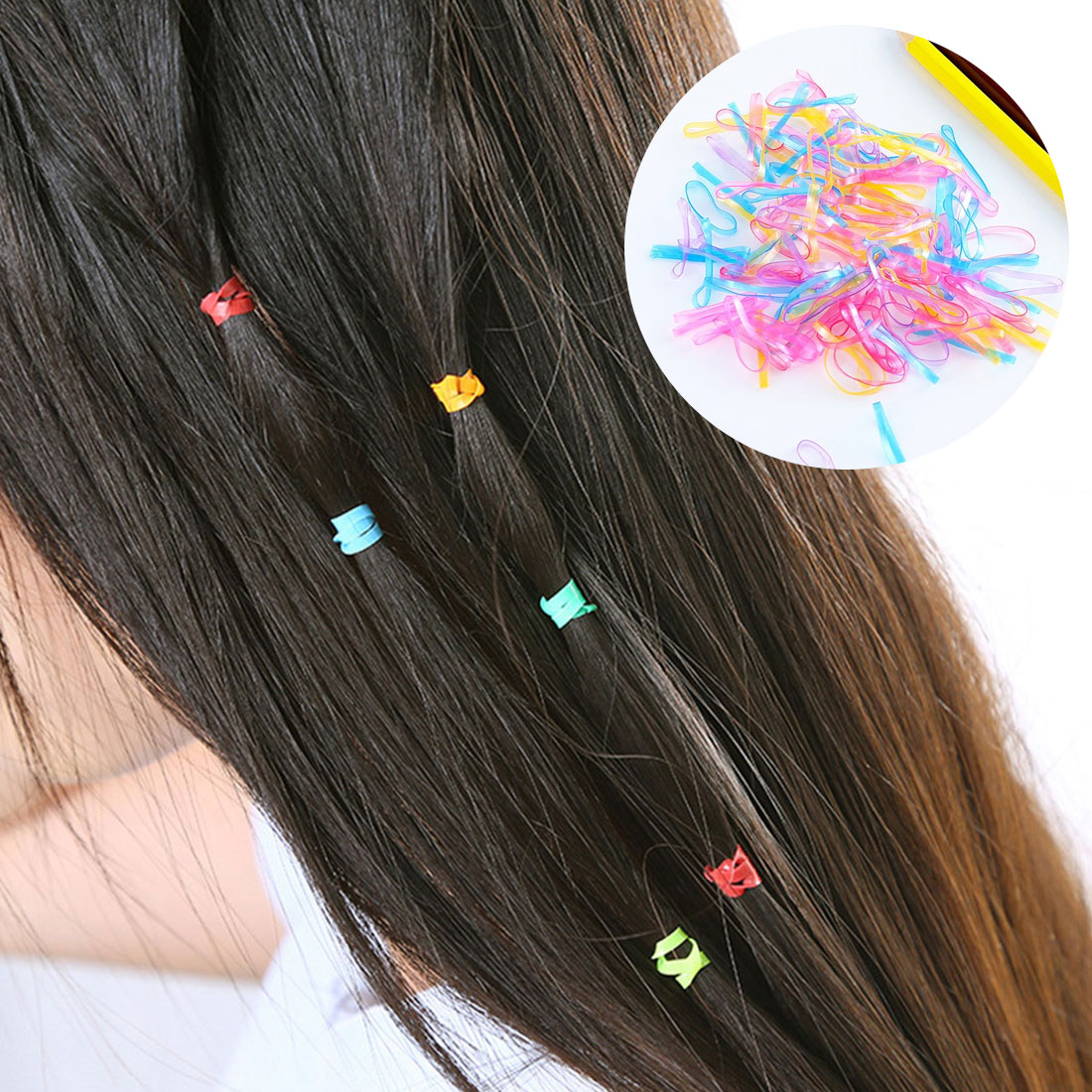 Diameter 1.6cm /2.2cm Resin Rubber Band Hair Band Baby Girls Colorful Small Rubber String High Elasticity Elastic Hair Circle