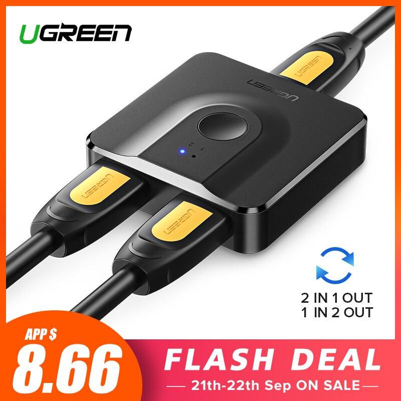 Ugreen HDMI Splitter 4K Switch HDMI Bi-Direção 1x2/2x1 Adaptador HDMI Switcher 2 em 1 fora para PS4/3 TV Box HDMI Switch