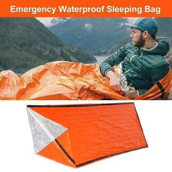 2 pcs Outdoor Emergency Sleeping Bag Thermal Survival Winter Anti-cold Pad Waterproof Bags Picnic Travel Autumn Camping F9V1