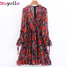 Boho Vintage Dress Women 2019 Drawstring Cuffs Floral Print Dress Lady V Neck Long Sleeve Ruffle Casual Chiffon Holiday Dress