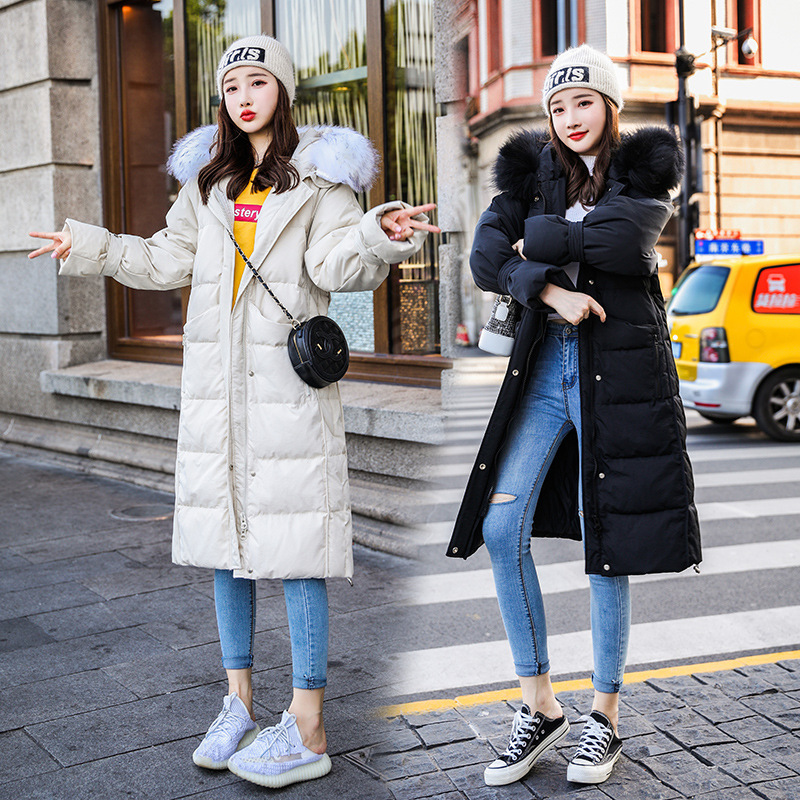 Thick Ladies White Duck Down Jacket Women Winter Long Down Coat Female Large Raccoon Fur Hooded Warm Clothes Hiver LW1469