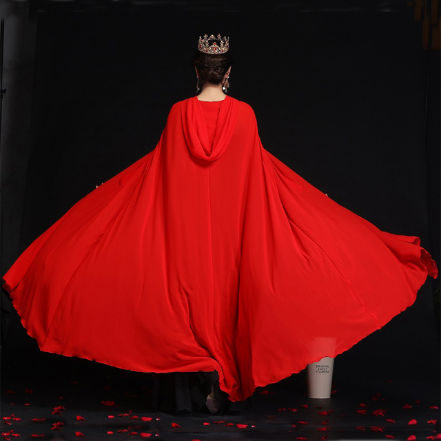 Women Chiffon Bridal Cape Long Wedding Cloak Hooded Elegant Lady Party Prom Cape Cosplay Witch Pirate Rolled Cloak Black Red 8