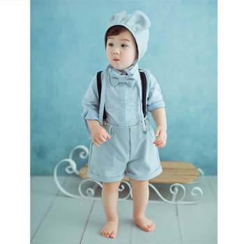 Baby Photography Clothes Boy Suit Bib Pants Hat Baby Clothes for Children 2 Years Studio Newborn Photo Shoot Accessories Props