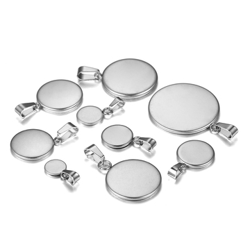 10pcs/lot Stainless Steel Cabochon 6-25mm Round Tray Blank With Clasps Pendant Base Setting For DIY Jewelry Making Supplies 20pcs lot stainless steel cabochon blanks setting 6 25mm base tray bezels blank for diy bracelet pendant jewelry making supplies