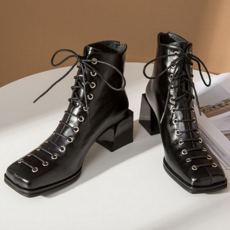 Vintage Sqaure Toe Lace Up Ankle Boots