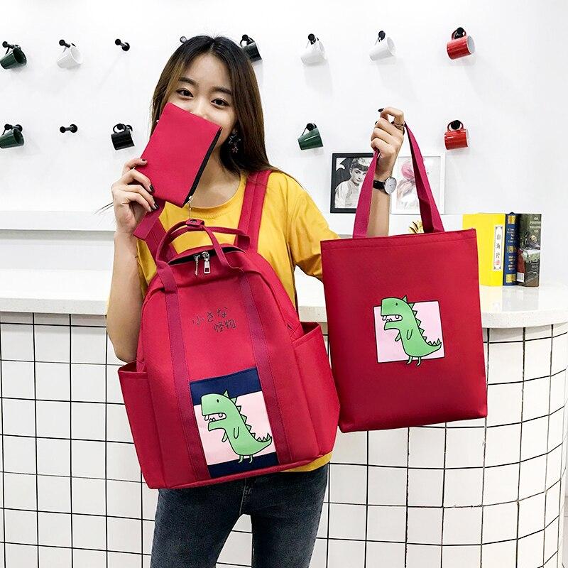 2019 Women Backpack Summer 3 Set Cute Pattern Solid Color New Backpack Women School Bag For Teenage Girls Bagpack Backbag